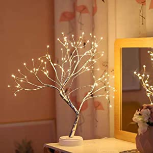 S-Union Tabletop Bonsai Lighted Tree 108 LED Christmas Decorations Table Tree Lamp Lights, Battery/USB Operated, DIY Artificial Tree for Wedding Party Gifts Indoor Outdoor Bedroom Desktop Decor
