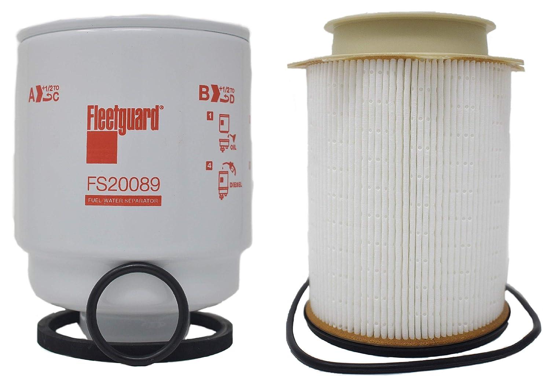 Fleetguard Cummins FS53000 & FS20089 Fuel Water Separator Filter Set for Dodge Ram 6.7 L Diesel