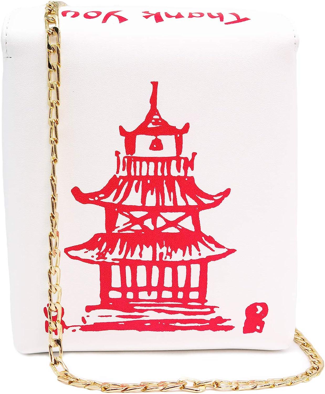 Bewaltz Chinese Takeout Box Crossbody Bag, White, 6