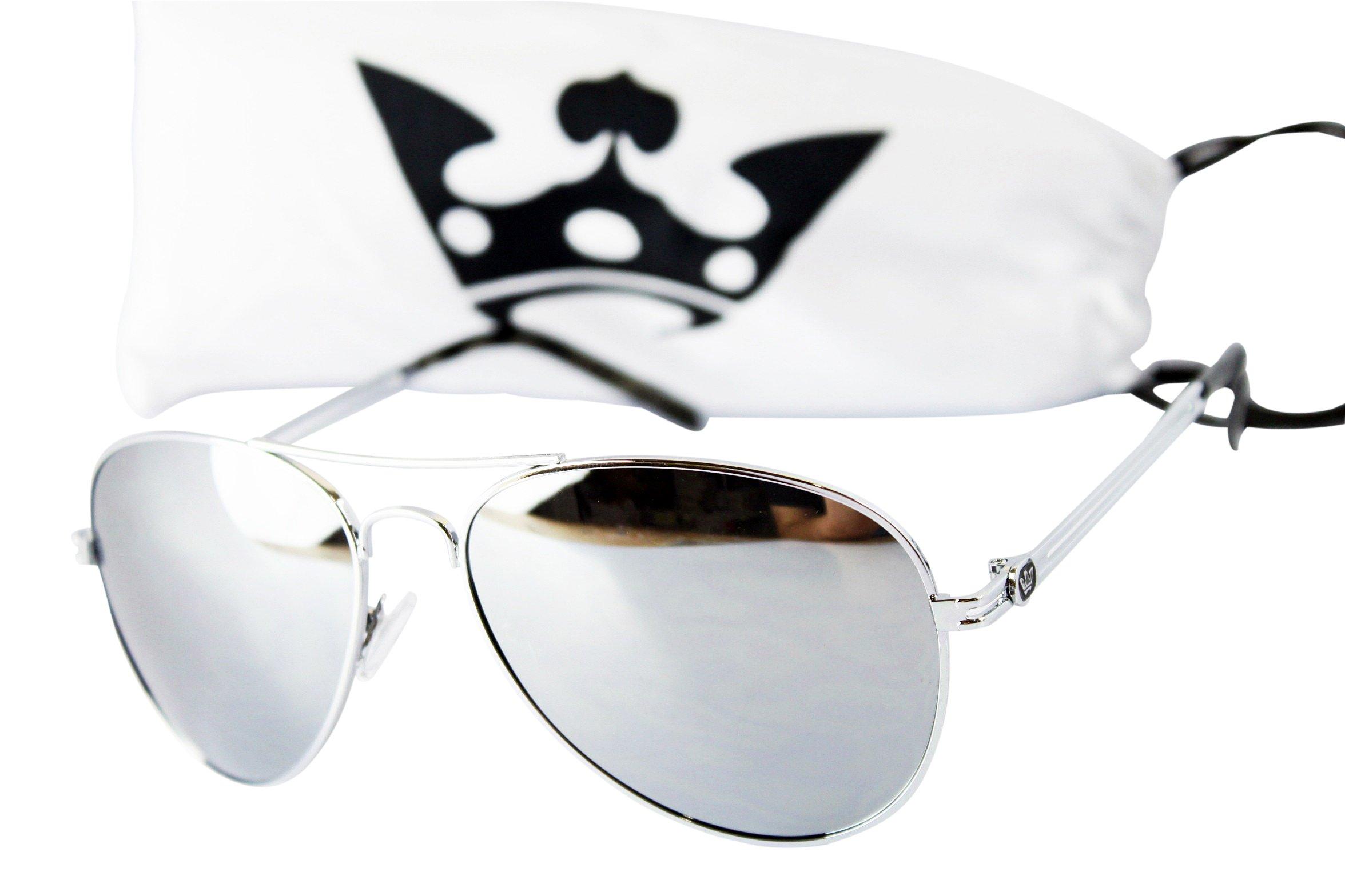 T011-cp Triple Crown Aviator Pilot CHP Metal Sunglasses (Silver-mirrored)