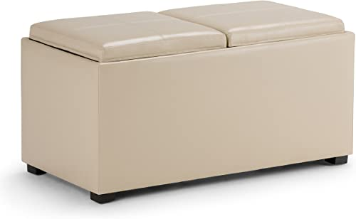 SIMPLIHOME Avalon 35 inch Wide Rectangle 5 Pc Storage Ottoman