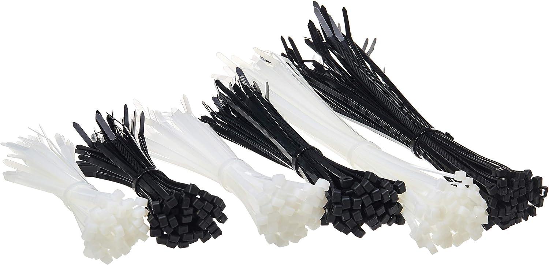AmazonBasics - Bridas de nailon, varias longitudes de 15 cm, 20 cm y 30 cm, color blanco y negro