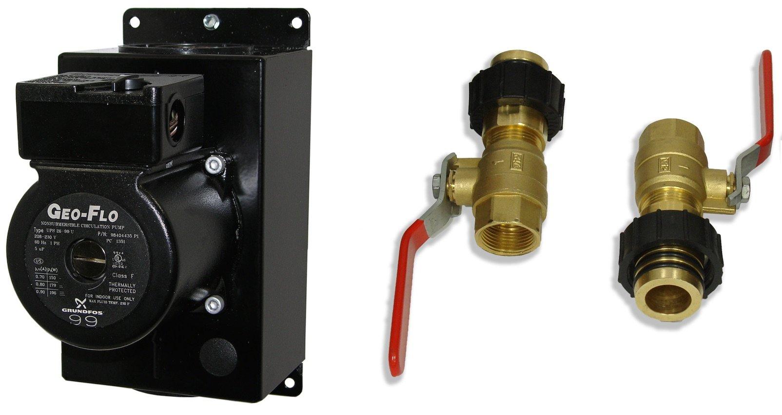 Insul. pump, UPS26-99 (3 spd), 230V, cast, isol. vlvs w/chk vlv