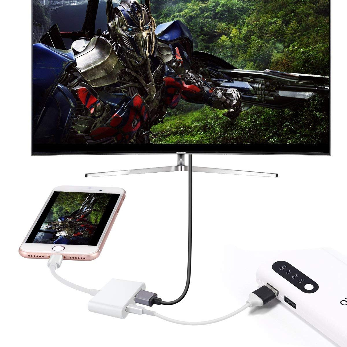 for HD TV Monitor Projector 1080P Must Supply Power Lighting Digital AV Adapter with Phone Charging Port 01 Lighting to HDMI Adapter Compatible with Phone//iPad//iPod Touch
