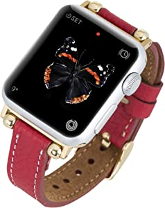 Venito Foggia Leather Watch Band Compatible with Apple Watch Series 1, 2, 3, 4, 5, 6 w/Stainless Steel Hardware (Red w/Gold Connector & Clasp, 38mm-40mm)