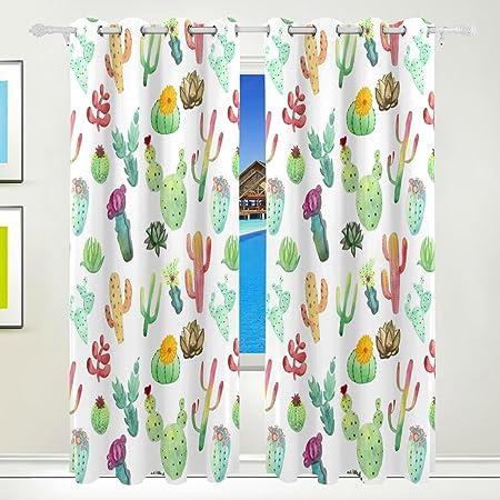 Ethel Ernest Colorful Vibrant Cactus Succulents Window Blackout Curtains  With Grommet, 55W X 84L Inch