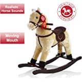 Heritage Deluxe 68cm Rocking Horse With Sounds & Moving Mouth Beige