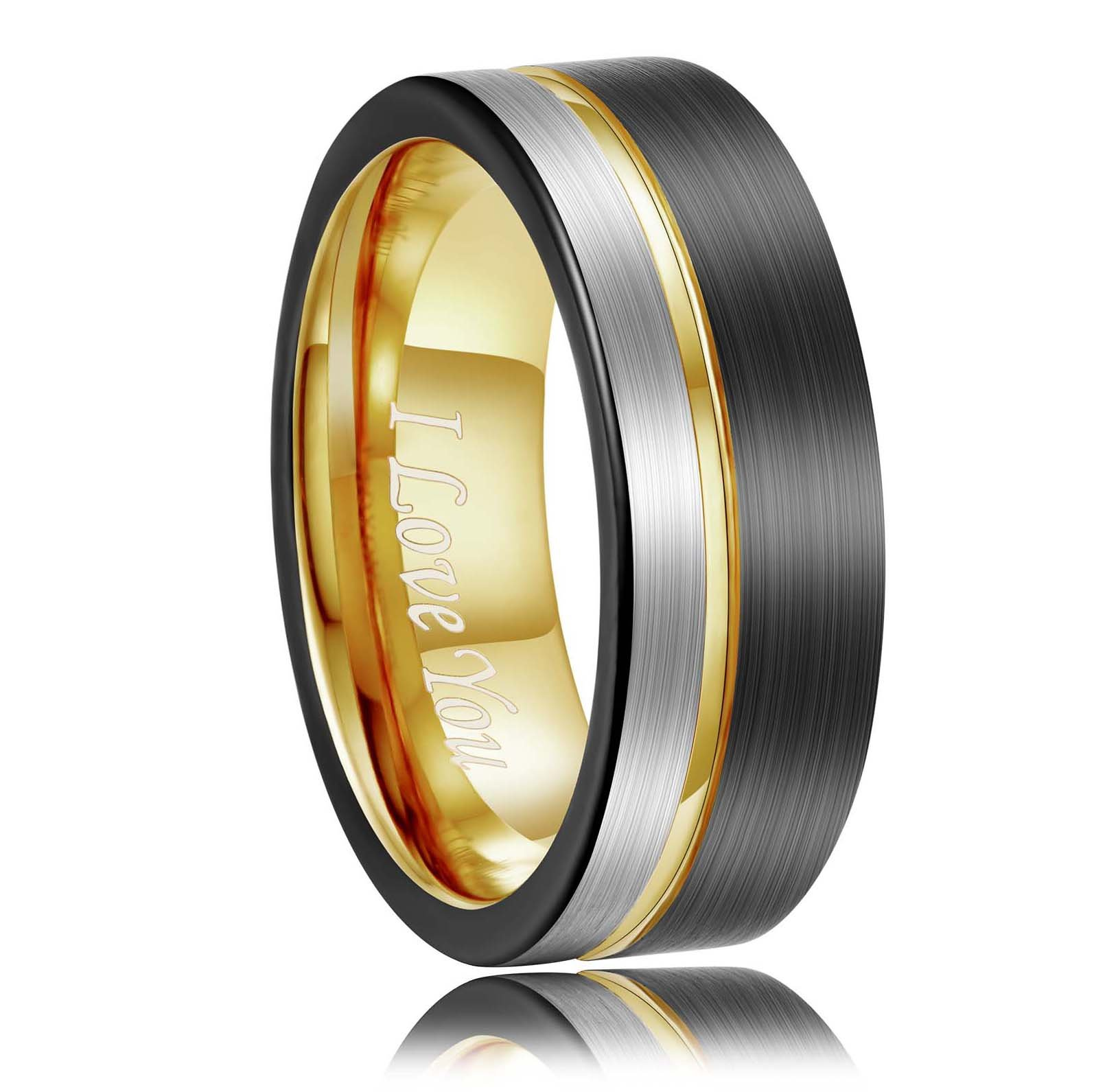 Tungsten Carbide Wedding Band 8mm Gold Line Ring Black and Silver Brushed Comfort Fit Grooved Mens Engagement Bands for Men Women Womens Promise Polished Rings Unisex Engagment Jewerly Gift Size 7