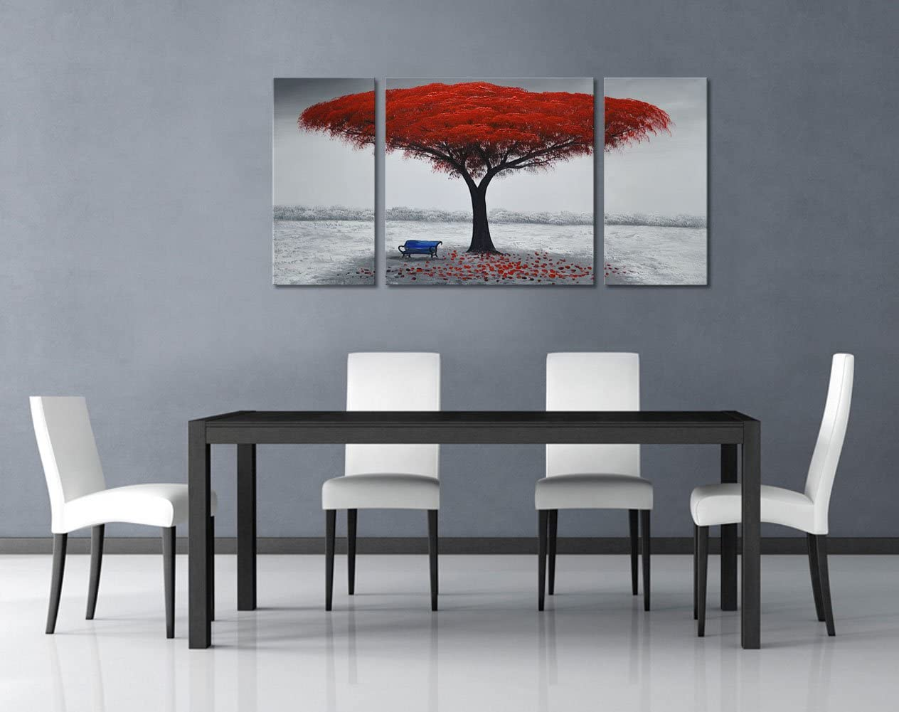Winpeak Art Chair Under Red Tree Hand-Painted Modern Oil Painting Landscape Wall Art Abstract Picture Contemporary Artwork Canvas Stretched Ready to Hang 40 W x 20 H 10 x20 x2pcs, 20 x20 x1pc