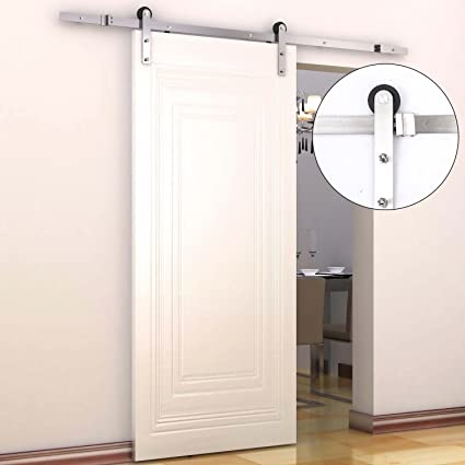 HomCom Modern 6u0027 Interior Sliding Barn Door Kit Hardware Set   Flat  Stainless Steel