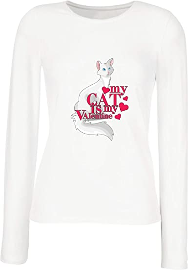 lepni.me Camisetas de Manga Larga para Mujer Mi Gato es mi San ...