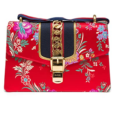 aacceaf3e387 Gucci Sylvie Red Jacquard Floral Tokyo Silk Small Bag Ribbon Leather  Handbag New Box
