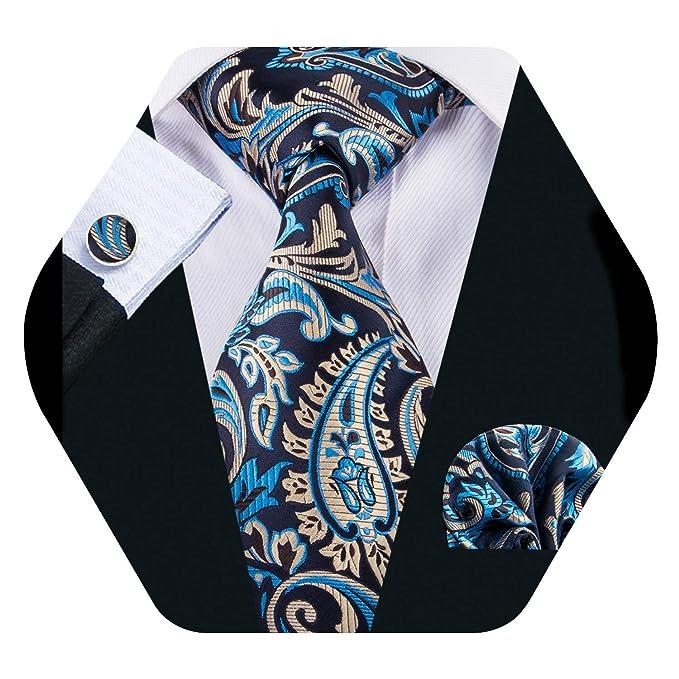 Barry.Pañuelo de bolsillo de corbata de seda azul para hombres ...