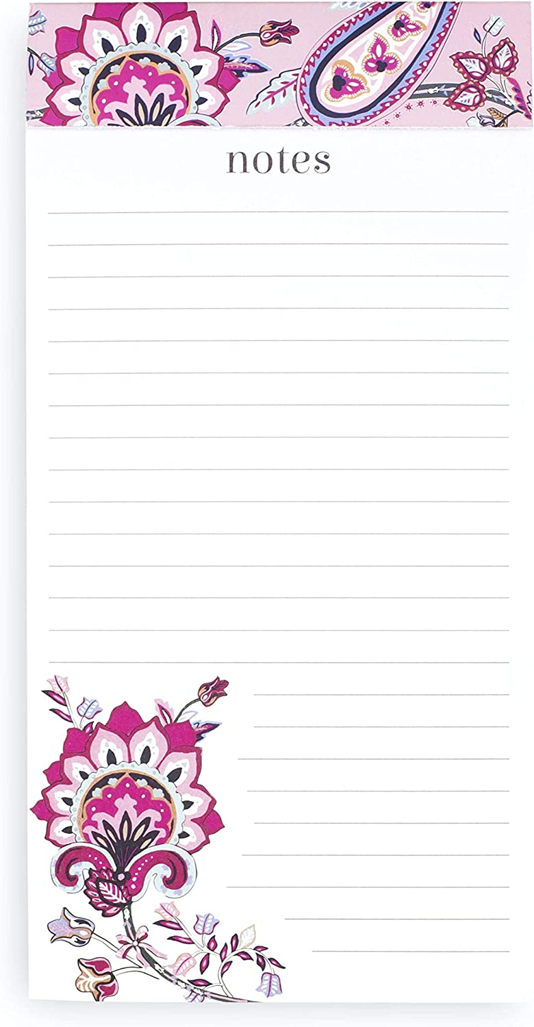 Vera Bradley Big List Notepad with Easy Tear Sheets, Memo Scratch Pad Includes 200 Lined Pages with Perforated Edge, Felicity Paisley Pink