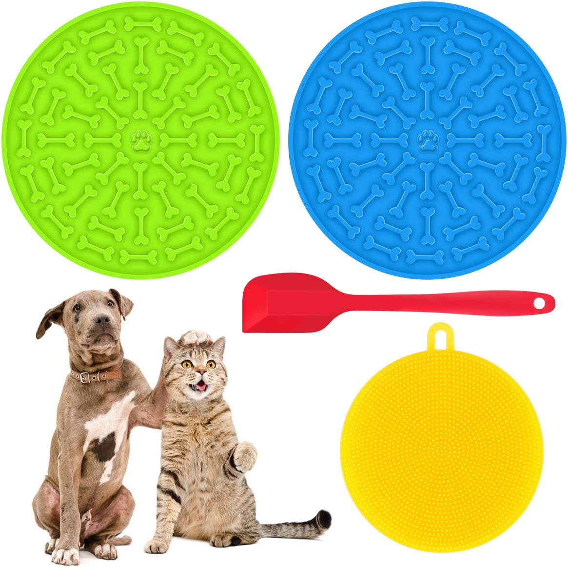 FPVERA Dog Lick Pad Slow Eating Dog Mat with Super Suction with Food Scraper with 37 Super Suctions to Wall for Pet Dog cat Bathing Grooming and Training