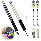aibow 極細 2in1 ディスク スタイラスペン タッチペン2本+交換用ペン先6個 iPhone iPad Android (ブラック+シャンパンゴールド)