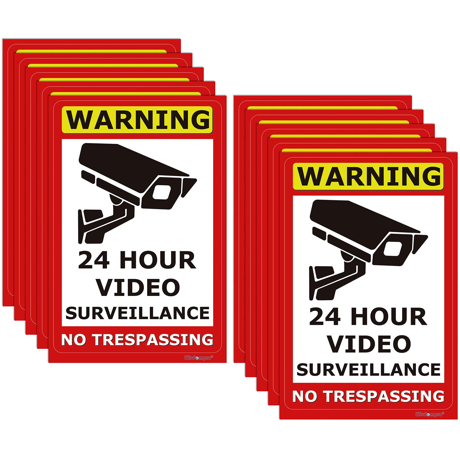 10 Pack 24 Hour Video Surveillance Sign, Wisdompro No Trespassing Warning Sticker Security Camera Sign Indoor or Outdoor Use for Home, Business, CCTV, UV Protected & Waterproof - 4 x 6 Inch