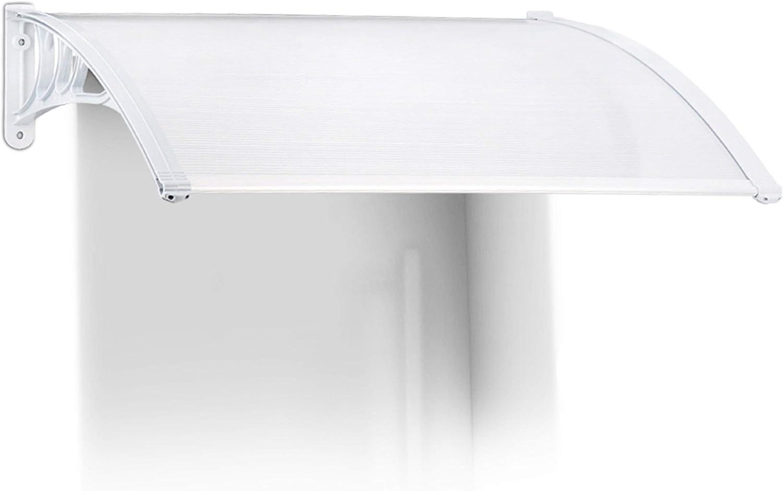 Relaxdays Marquesina toldo Techo para Puertas protección, plástico, Aluminio, 120 x 100 cm, tejado, Transparente, 100x120x28 cm