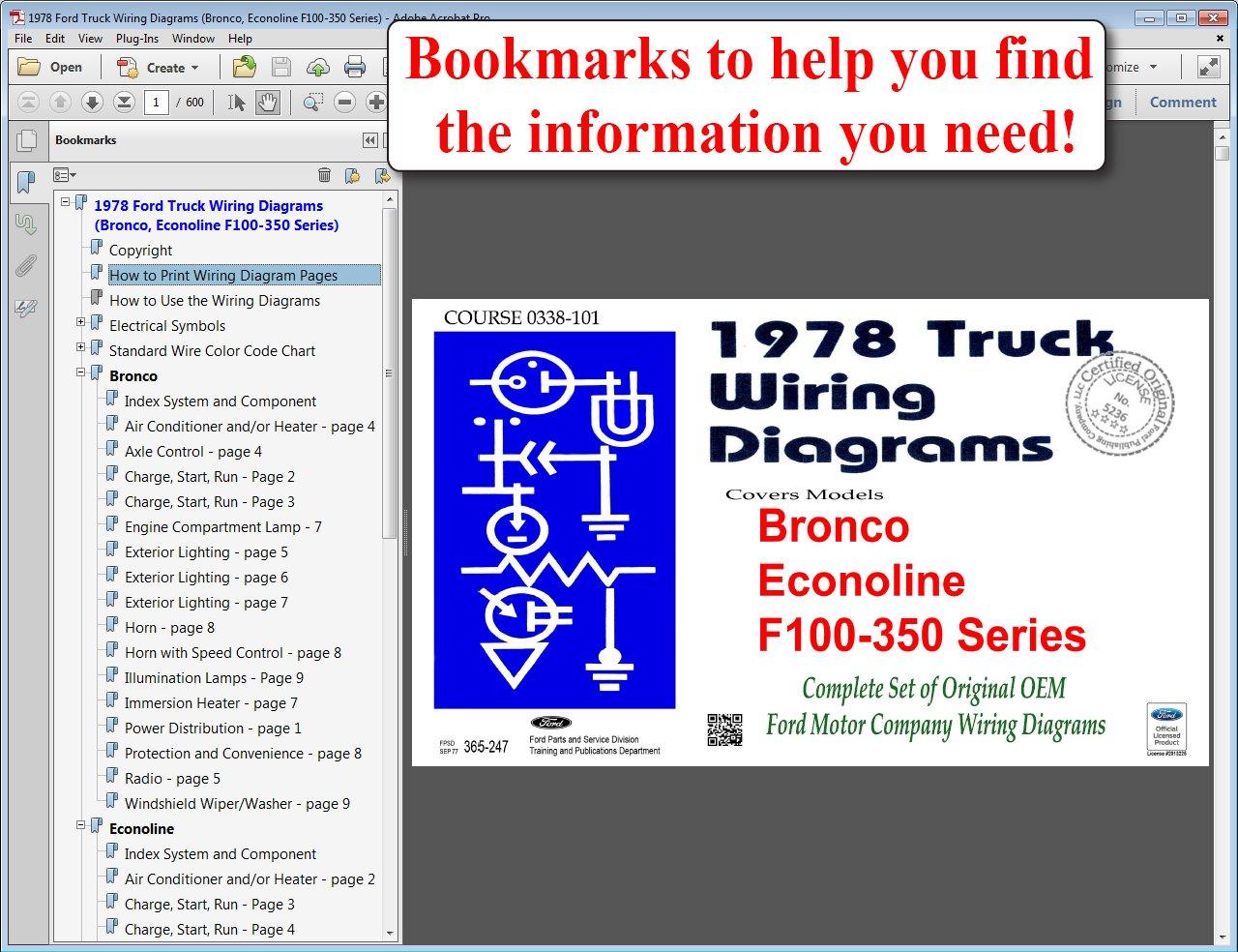 1978 Ford Truck Wiring Diagrams Bronco Econoline F100 350 Series F1 Diagram Motor Company 9781603712064 Books