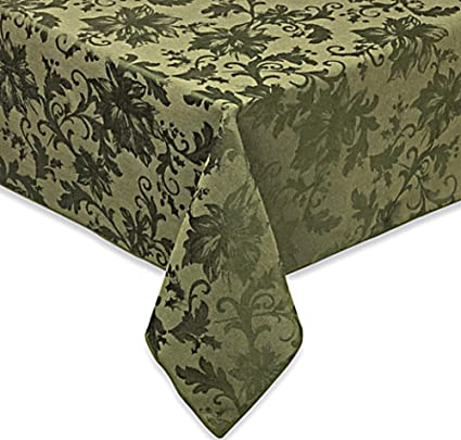 Dark Olive Green Christmas Tablecloth, Oval Shape, 60 In X 104 In, Holiday