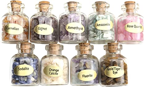 Chakra Healing Crystals Witchcraft Crystals A Set of 45 Different Crystal Gemstones in Glass Bottles Metaphysic Tumbled Crystal Chip Chakra Stones Set