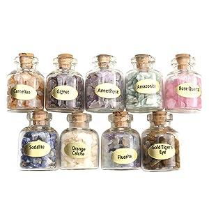 Jovivi 9 Mini Gemstone Bottles Chip Crystal Healing Tumbled Gem Reiki Wicca Stones Set