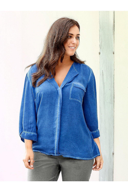 Ulla Popken Women's Plus Size Cold Dye Chest Pocket Blouse 703471