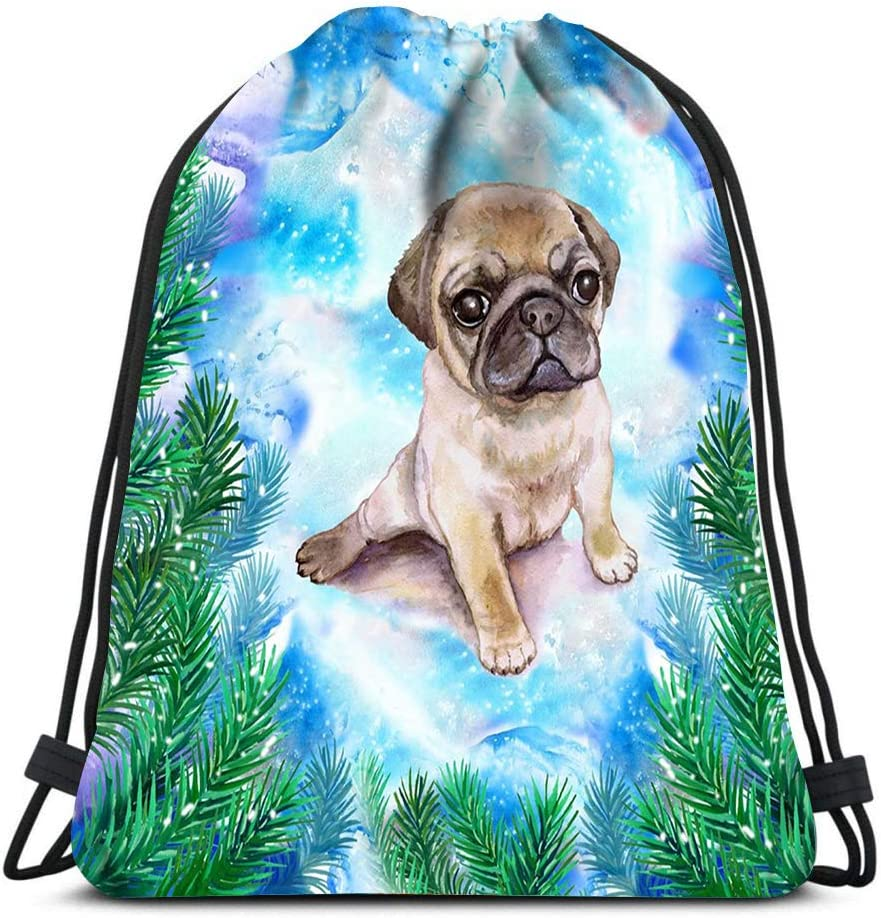 Drawstring Backpack Chinese Wrinkled Pug Puppy New Year And Christmas Design With Fir Tree Branch Laundry Bag Gym Yoga Bag