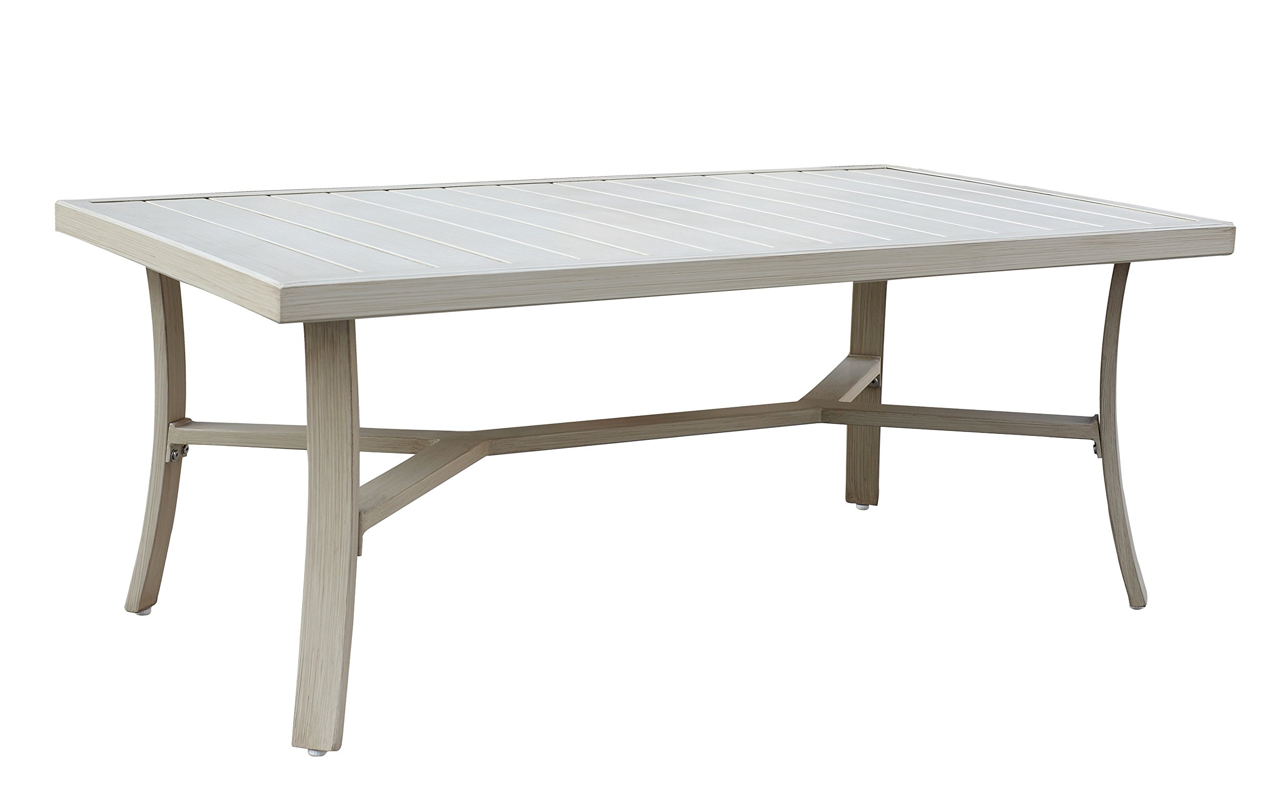 Courtyard Casual Camel Torino Aluminum Outdoor Rectangle Coffee Table - Great for any outdoor setting: patio, covered patio, deck, fire pit, outdoor kitchen, Poolside, lanai, gazebo, etc. Fade and UV resistant and safe in full sun exposure. Heavy duty aluminum powder coated framing for years of use outdoors in the harshest weather conditions. - patio-tables, patio-furniture, patio - 71Ixel6Xi4L -