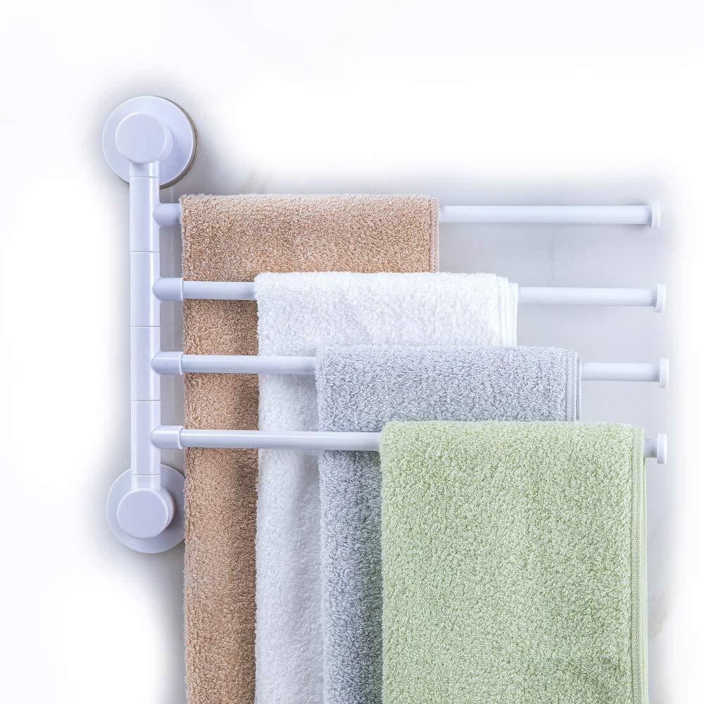 HOOMTAOOK Swivel Towel Bar Rack Super Power Vacuum Suction No Drill Waterproof Heavy Duty Removable Reusable Bathroom Shower Organization 4-Bar Bath Folding Swing Arm Towel Hanger Holder For Kitchen
