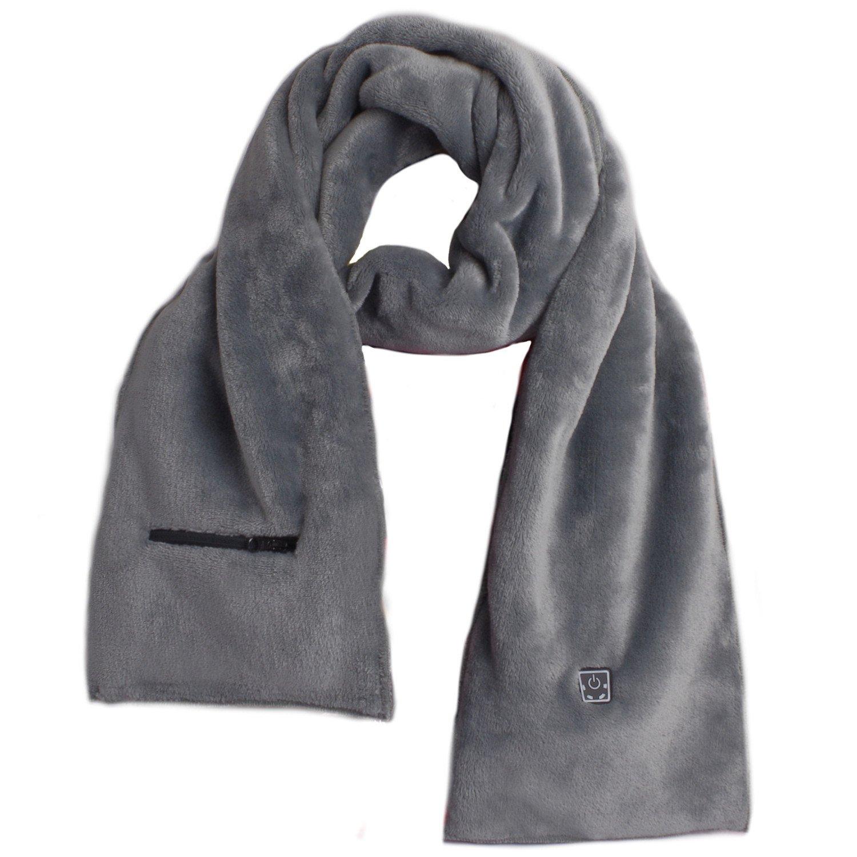 Glovii - Bufanda Climatizada, Thermoactive Bufanda con calefacción, colores: negro/gris/blanco, tamaños: S-M, L-XL (Gris)