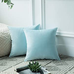 Azume 18x18 inch Decorative Throw Pillow Cover Soft Velvet Cushion Cases, Solid Accent Cushion Covers for Sofa Couch Chair Living Room Bedroom Office, 2 Packs, Light Blue