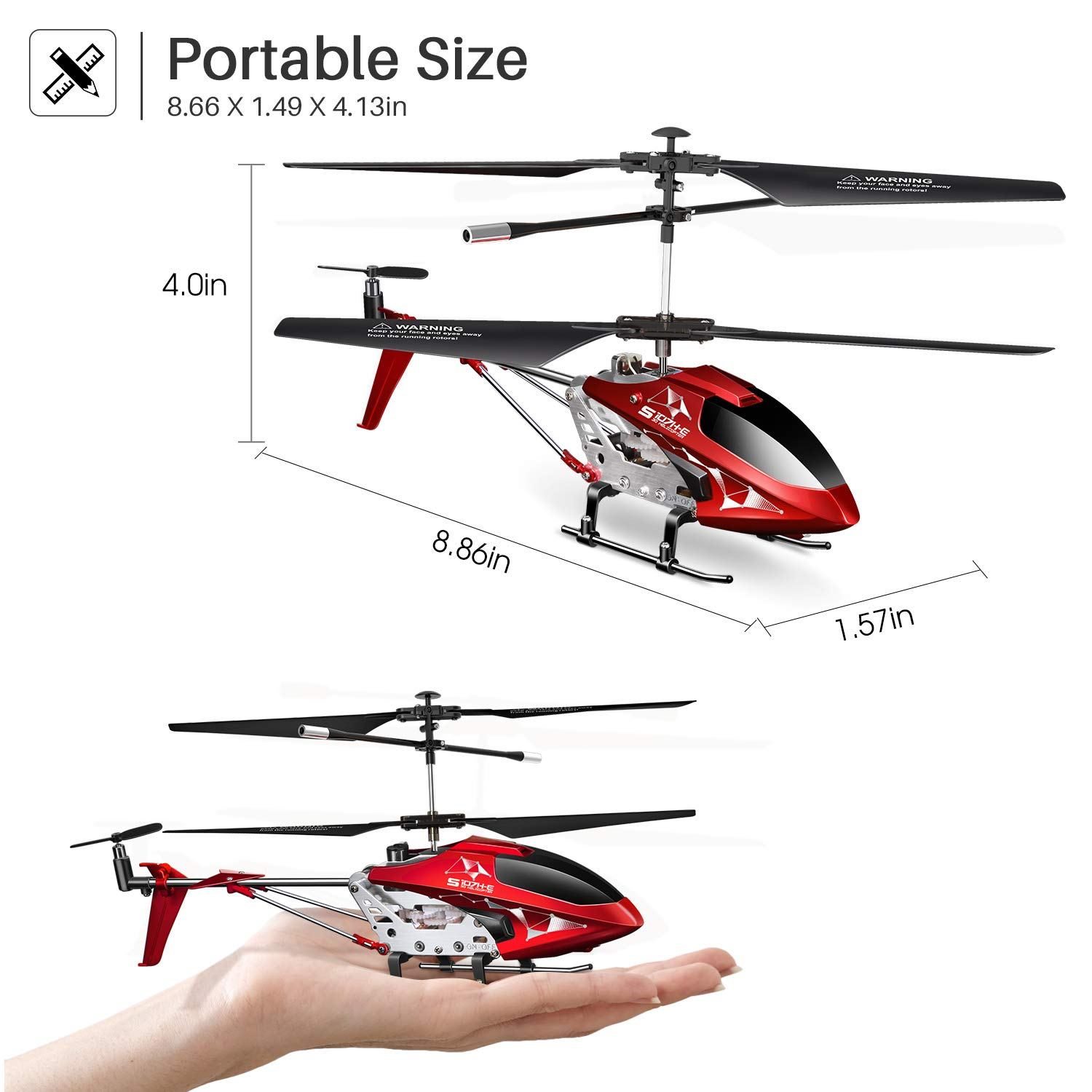 LED Light for Indoor to Fly for Kids and Beginners One Key take Off//Landing Remote Control Helicopter Gyro Stabilizer and High /&Low Speed S107H Aircraft with Altitude Hold Green 3.5 Channel