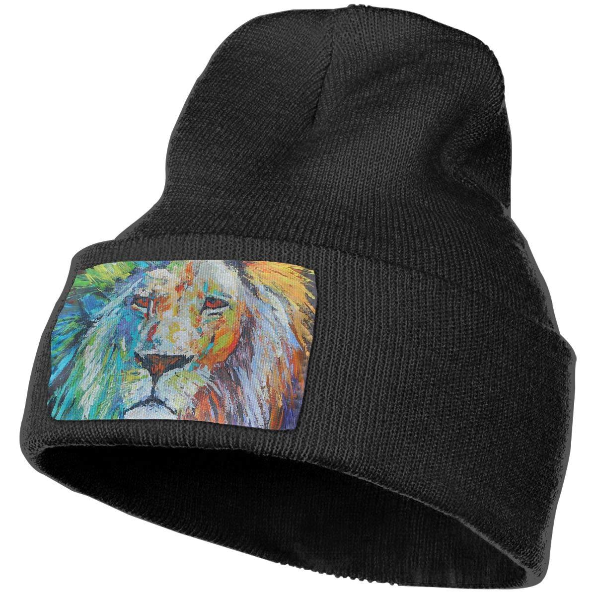 Fashion Lion Art Cuffed Plain Baggy Winter Skull Knit Hat Cap Slouchy Beanie Hat for Men /& Women