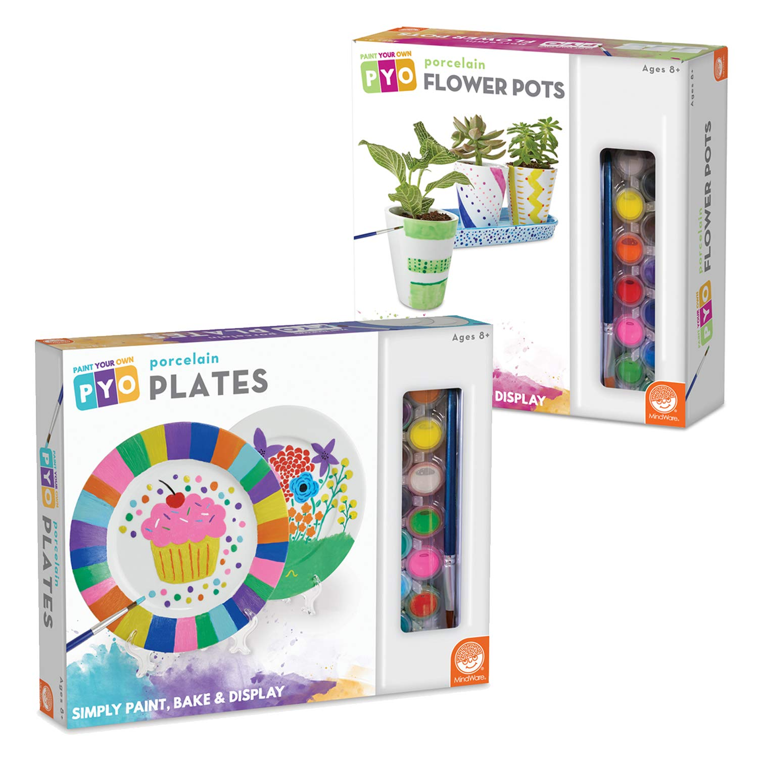 MindWare Paint Your Own Porcelain Plates and Flower Pots: Set of 2 by MindWare