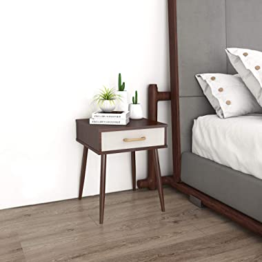 Lifewit Nightstand with 1 Fabric Drawer, Bedroom Side Table Bedside Table, Modern Design Accent Table, Sturdy and Easy Assembly, 15.7 × 15.7 × 20 inches, Brown