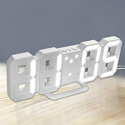 Amazon 3d digital alarm clock wall clock led light with 1224 3d digital alarm clock wall clock led light with 1224 hrs alarm snooze adjust aloadofball Images