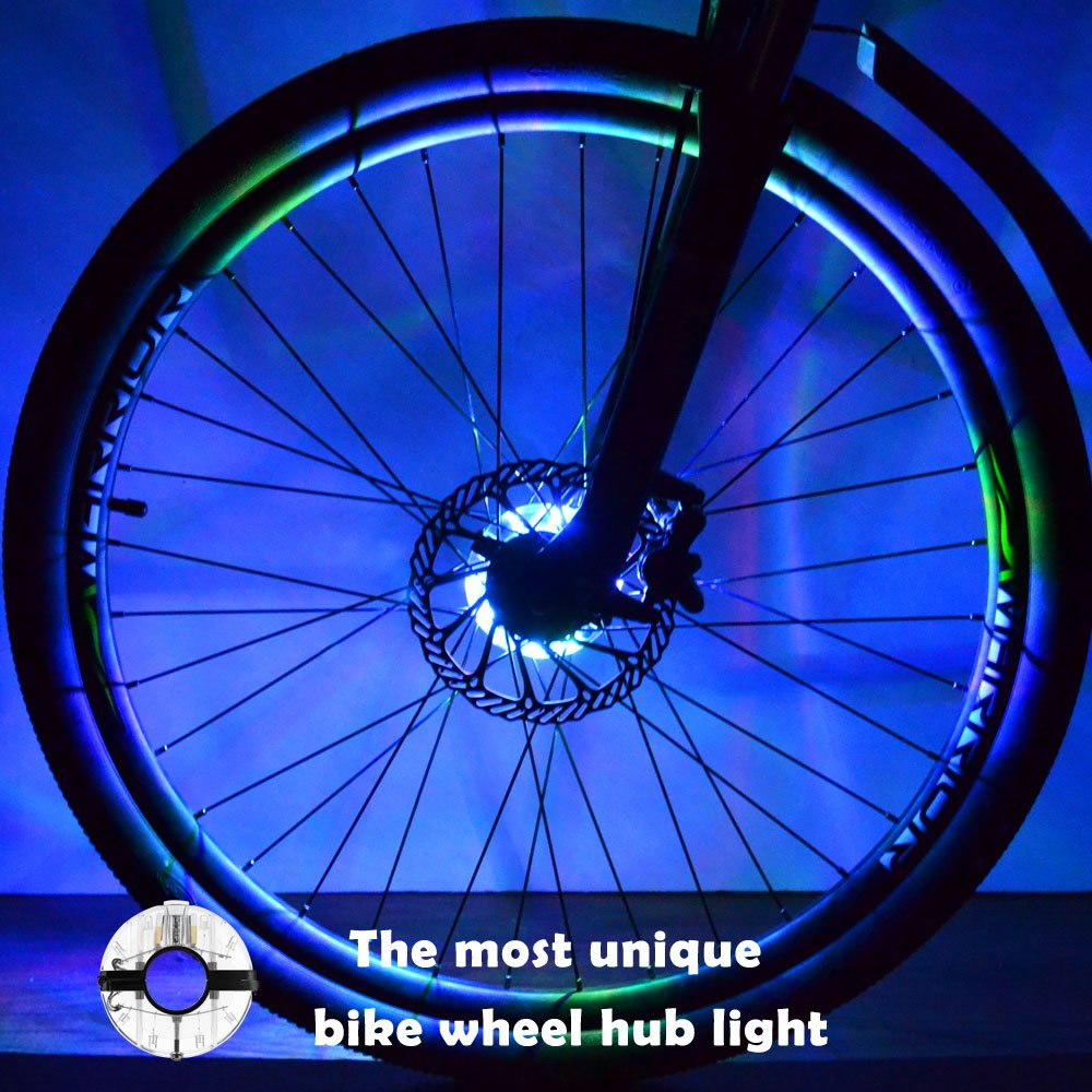 WAYNEWON Rechargeable Bike Wheel Hub Lights, Waterproof LED Bike Spoke Lights included 7 Color, for Safety Warning, Decoration and Christmas Present [1 Pack for 1 Tire]