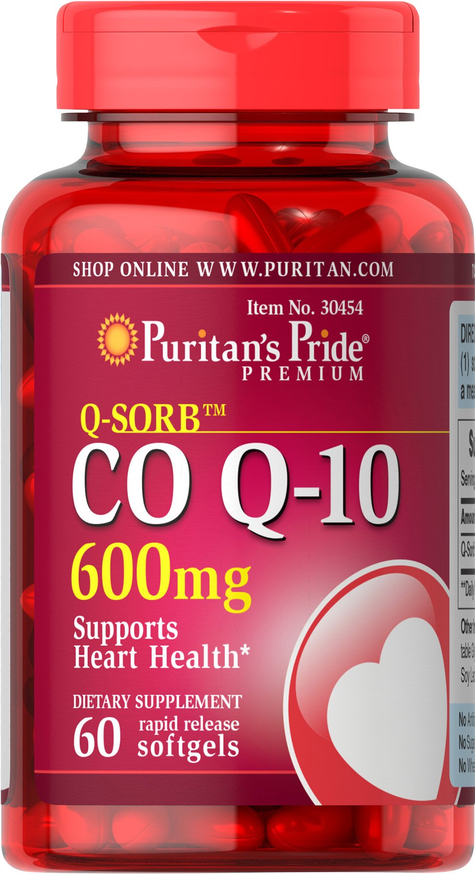 Puritan's Pride Q-SORB CoQ10 (Coenzyme Q10) 600 mg, Natural Antioxidant, Dietary Supplement for Blood Pressue Management, 60 Rapid Release Softgels