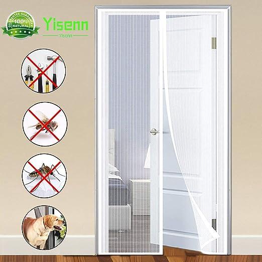 Yisenn Mosquitera Puerta, Mosquitera Ventana con Durable para Puertas Correderas/Balcones/Terraza - Blanco 140x260cm(55x102inch): Amazon.es: Hogar