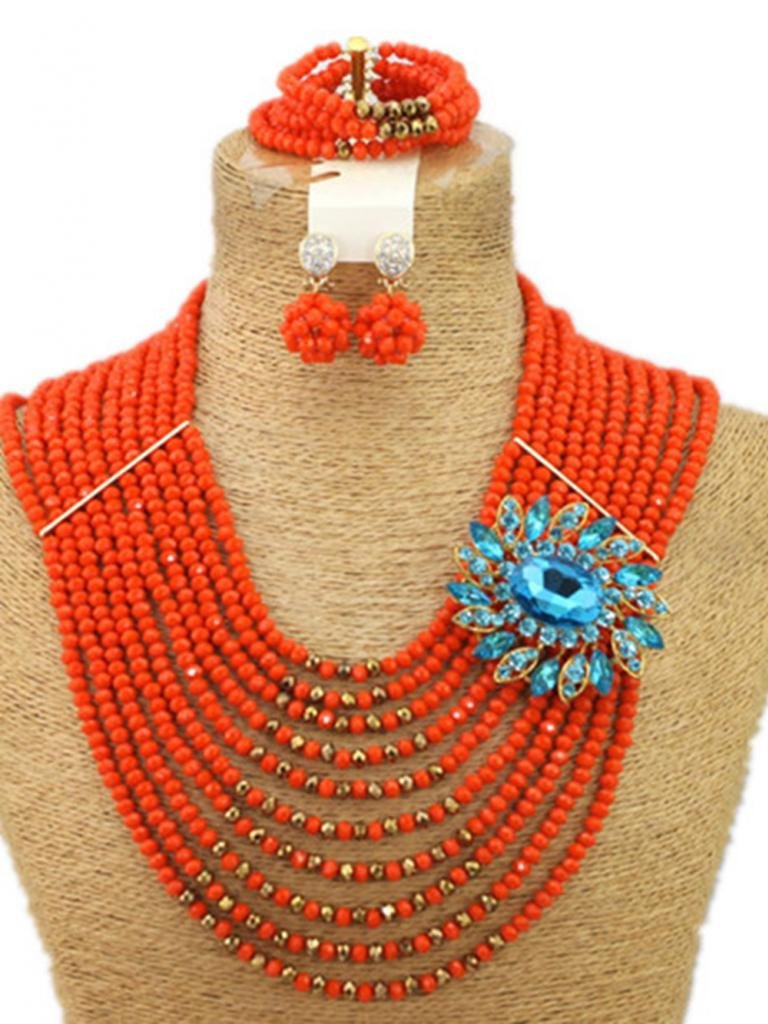 Soyagift 10layers Orange Crystal Beads Multi-style Brooches African Jewelry Set by Soyagift