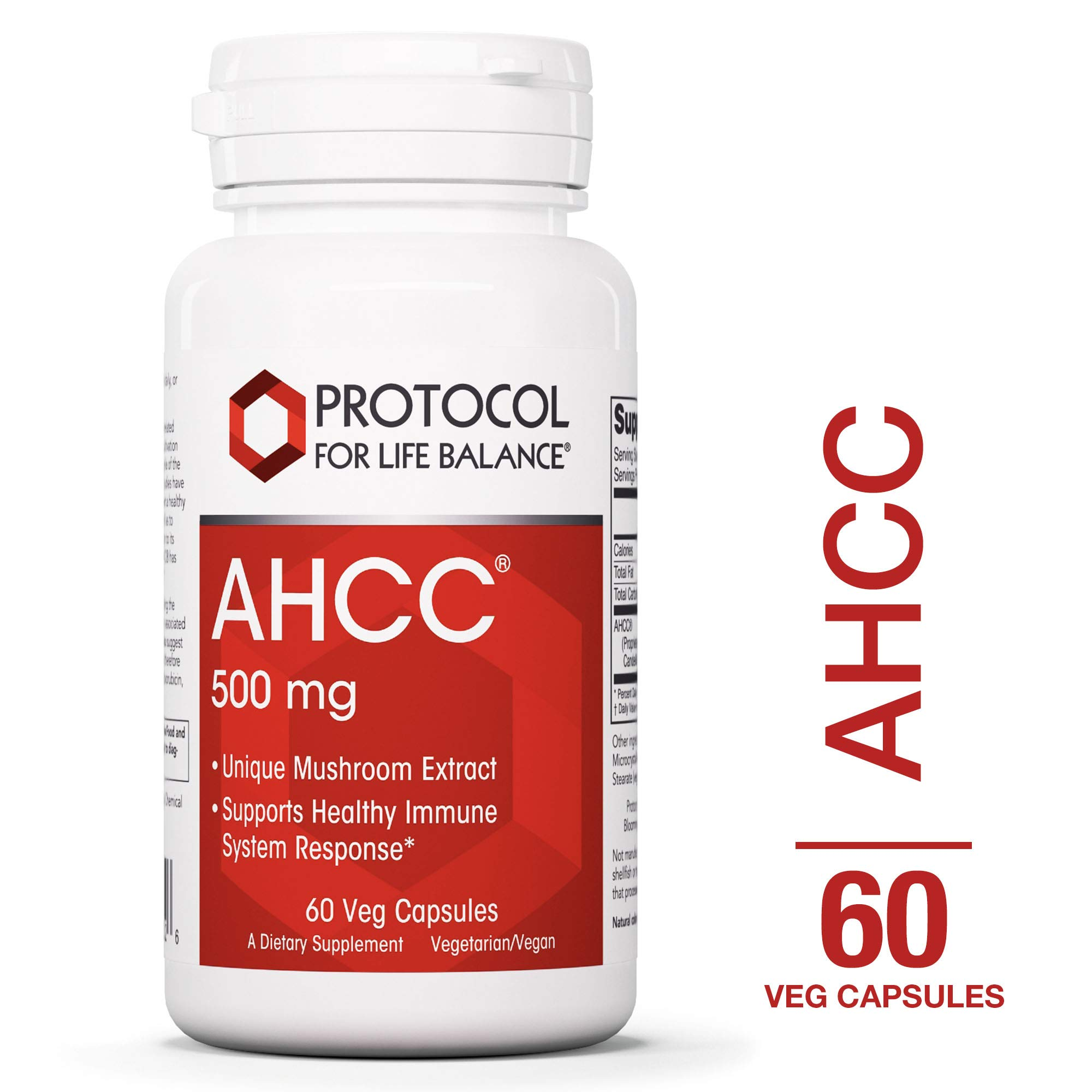 Protocol For Life Balance - AHCC 500 mg - Mushroom Extract to Support Healthy Immune System Response, Rich in Antioxidants, Helps Cardiovascular System Health, 60 Veg Capsules