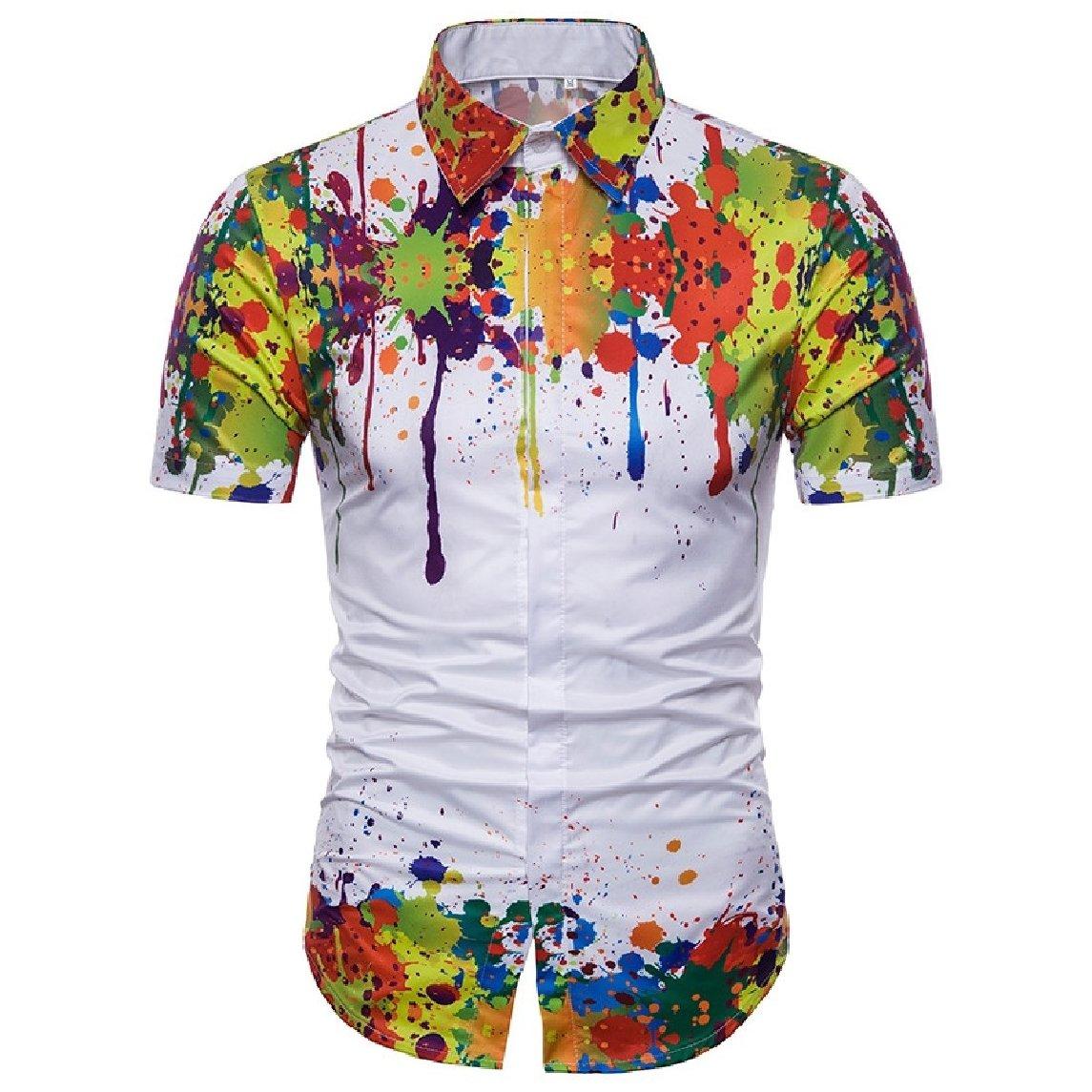 Nicelly Mens Summer Splash Ink Printed Graffiti Print Short Sleeve