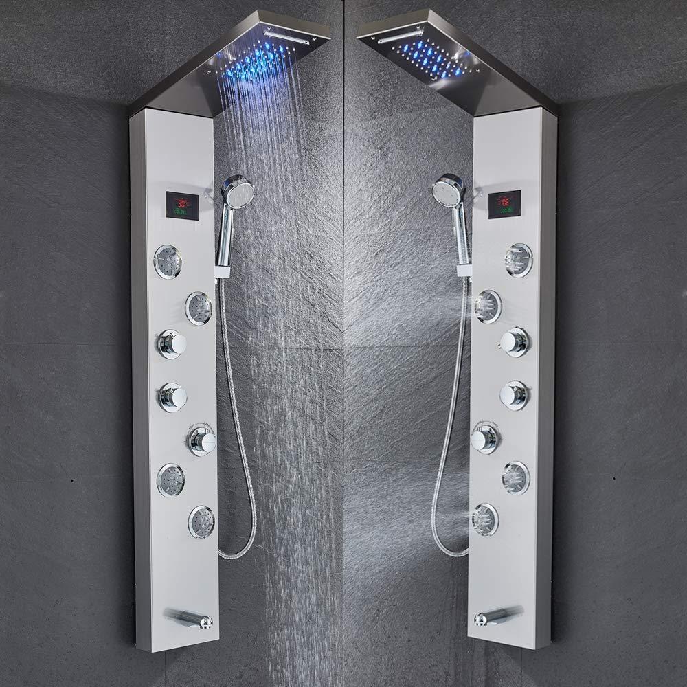 マッサージシステム浴槽の口および手のシャワーのシャワーのコラムが付いている黒い青銅のステンレス鋼5機能滝のにわか雨のパネル,Silver B07RW9CM9M Silver