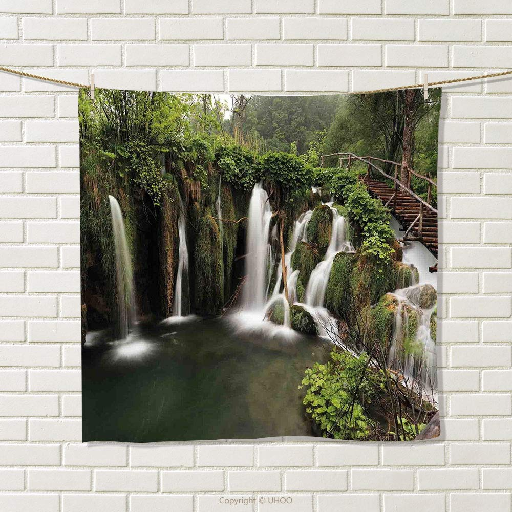 smallbeefly Waterfall Hand Towel Circled Waterfalls in Crotia Europe with a Rustic Wood Cute Bridge Aside Quick-Dry Towels Green and Brown Size: W 20'' x L 21''