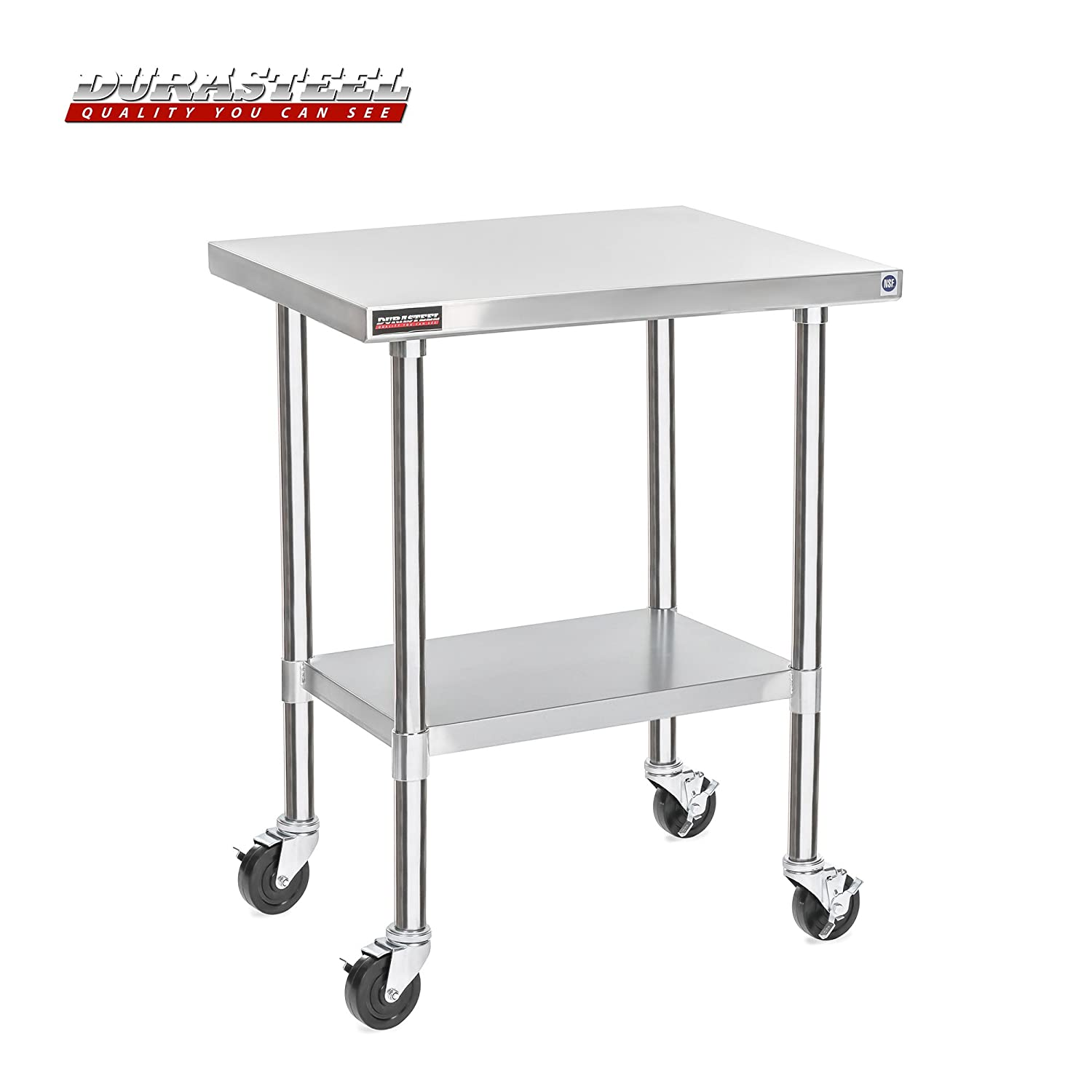 "DuraSteel Stainless Steel Work Table 24"" x 30"" x 34"" Height w/ 4 Caster Wheels -Food Prep Commercial Grade Worktable - NSF Certified - Good For Restaurant, Business, Warehouse, Home, Kitchen, Garage"