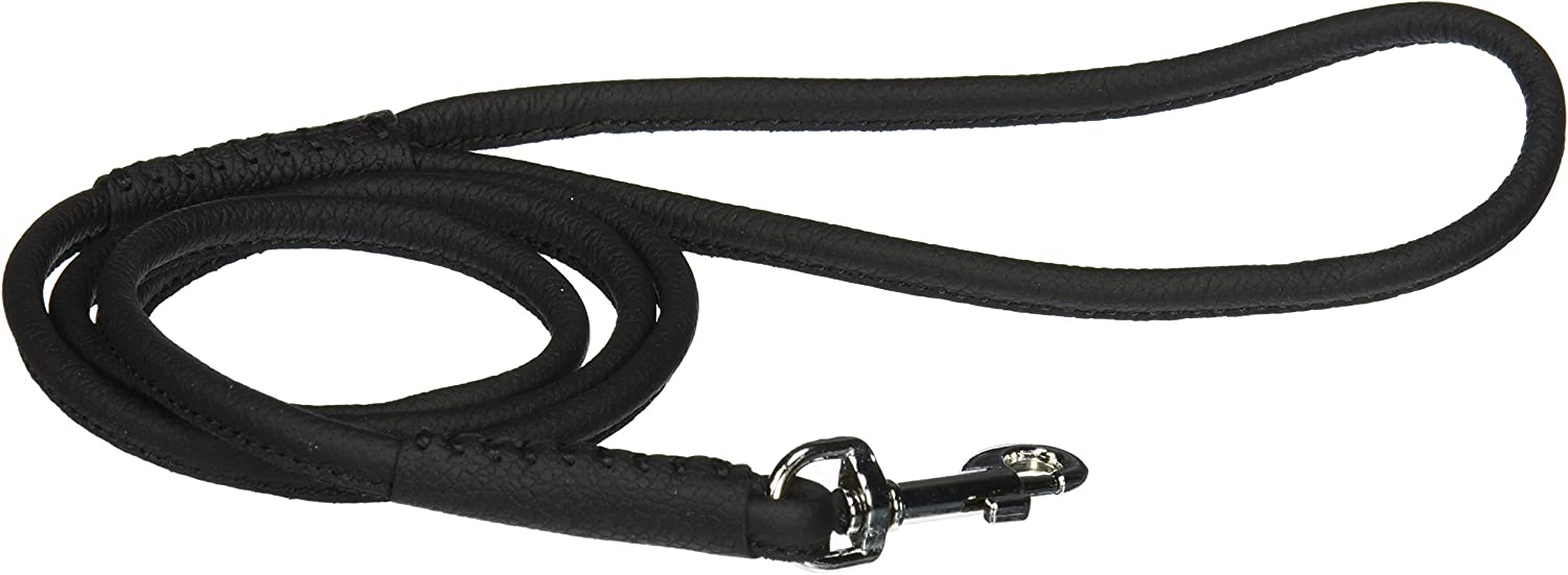 tracking leash 6mm round belt leather natural-colored