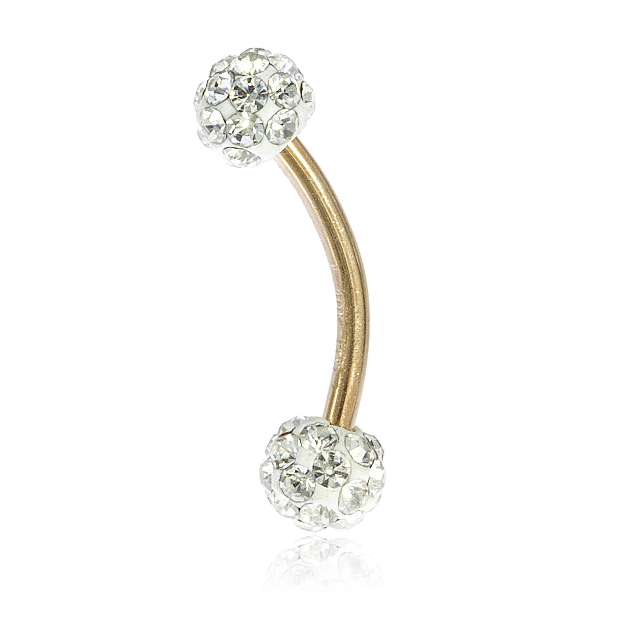 10k Yellow Gold 12 Gauge Eyebrow Ring with White 4mm Preciosa Crystals Balls (GO-682)