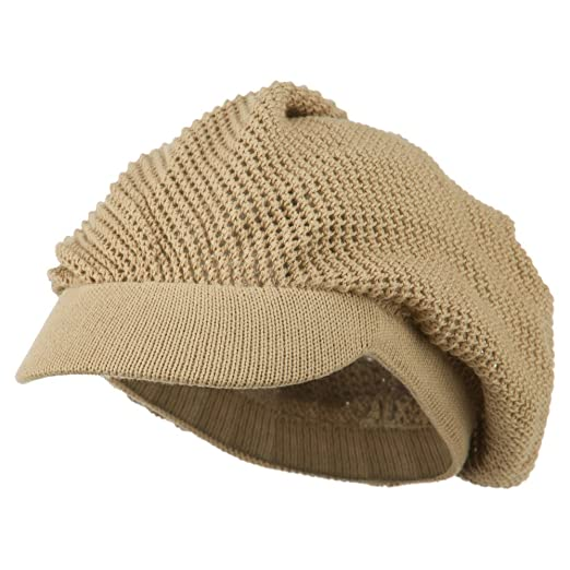 395236de4c8871 Amazon.com: Rasta/NYE Mesh Deep Crown Visored Beanie - Camel OSFM ...