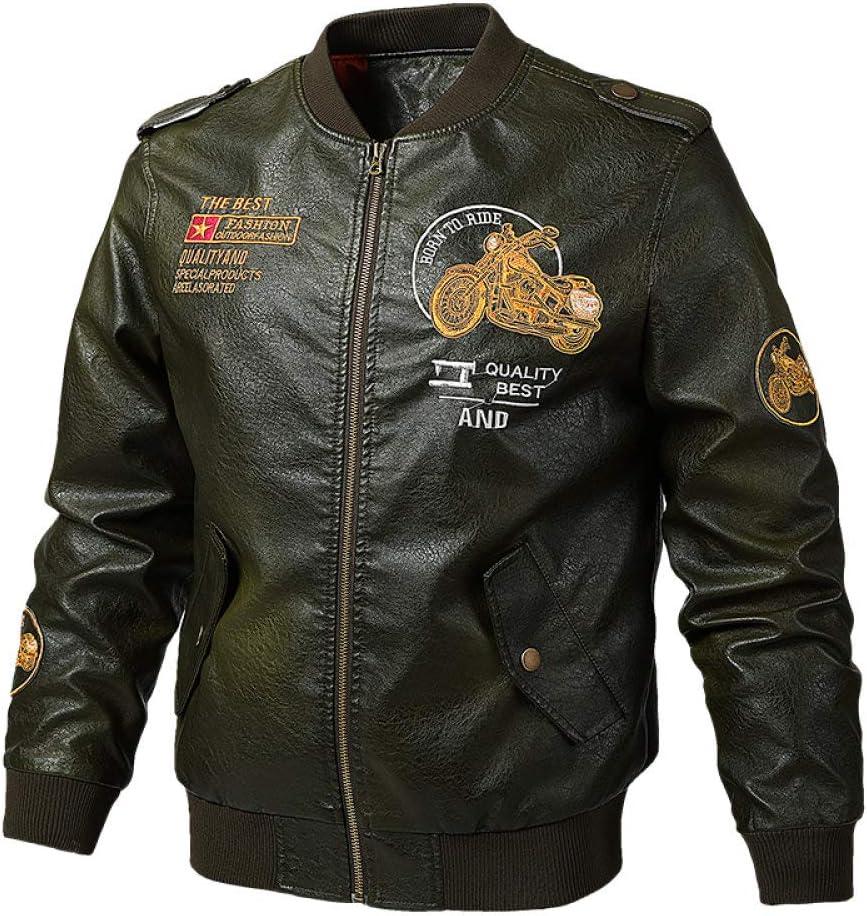 WJVCZ Chaqueta de Cuero de imitación para Hombre Chaqueta de Moto de piloto de Moto Vintage Chaqueta de béisbol, Verde, XXL